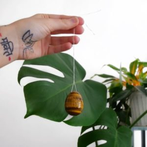Yoni egg tiger eye with string from PLA plant-based ecological string