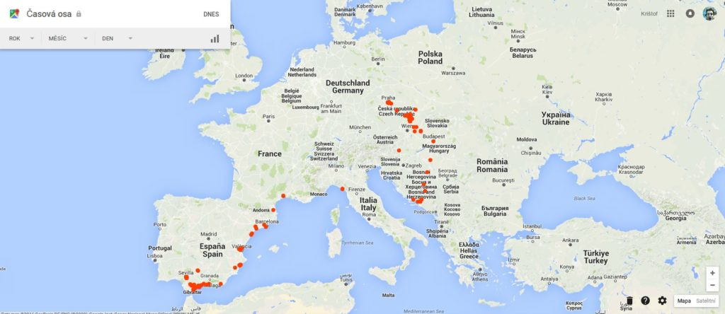 mapa naší cesty stopem evropou
