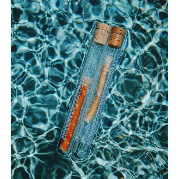 přírodní kartáček yoni v pouzdru ve vodě