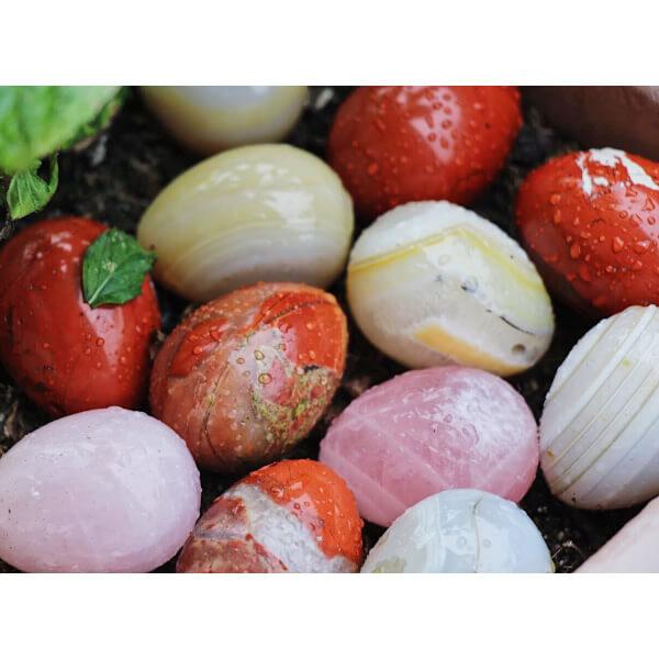 yoni vajíčko křišťál, růženín a jaspis