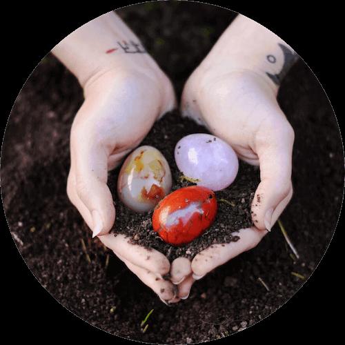 Yoni vajíčko růženán,jaspis a křišťál na cvičení pánevního dna
