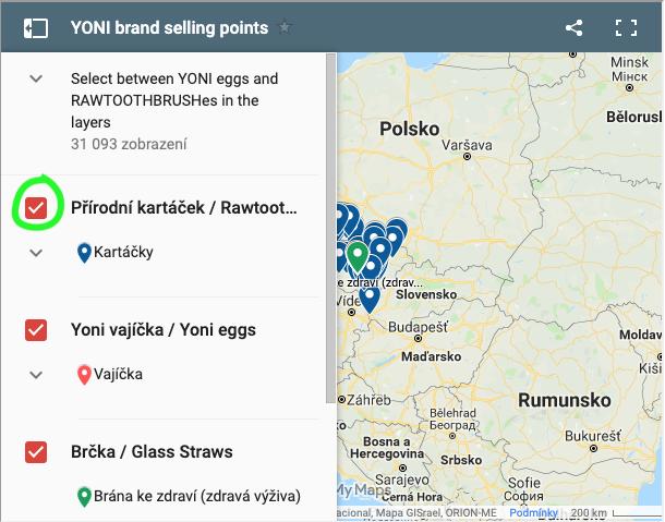 Ilustrace zapínání a vypínání vrstev google mapy