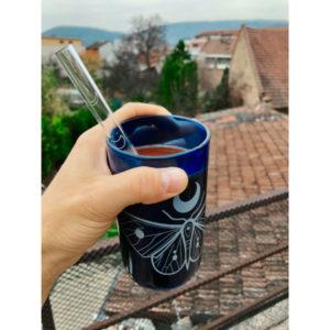 modrá sklenice z českého up-cyclovaného skla